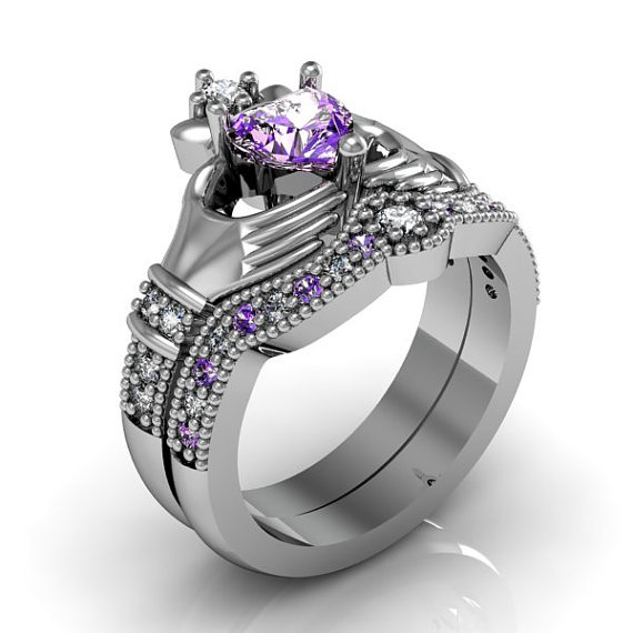 Claddagh Ring Amethyst Sterling Silver Love And Friendship