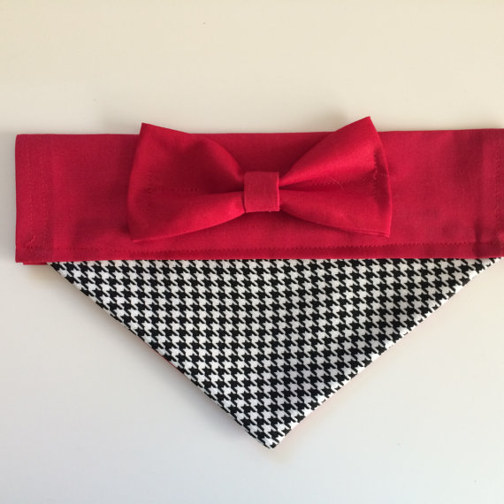Свадьба - Dog Bandana - Red and Black Houndstooth with Bow