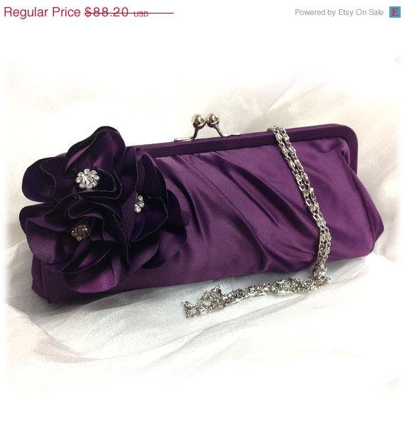 Свадьба - Wedding clutch, Bridesmaid clutch, Purple clutch, evening bag, Bridesmaid bag, crystal clutch, flower bag