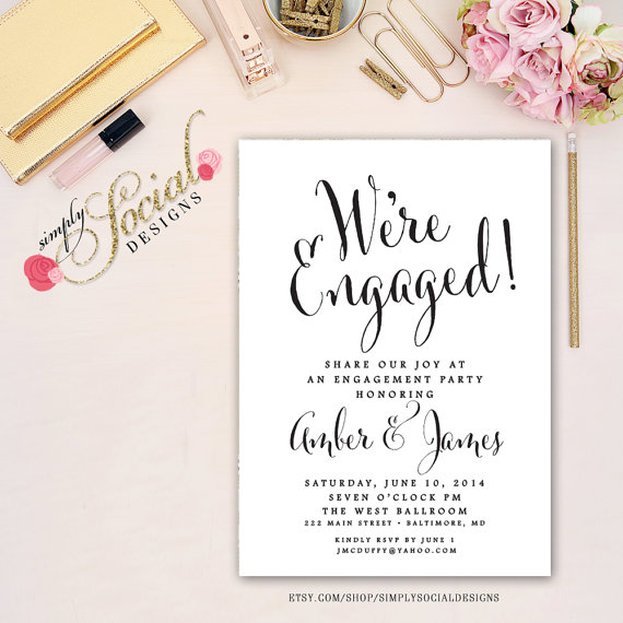 Свадьба - Black and White Engagement Party Invitation Printable Calligraphy