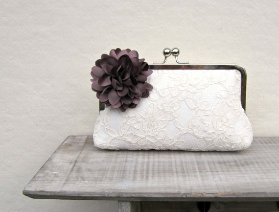 Ivory Bridal Clutch With Coffee Brown Flower Lace Bridal Clutch Bag Dark Brown Clutch Coffee ...
