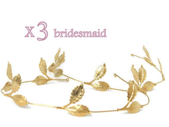 Mariage - 3 bridesmaid hair accessories ,wedding bridal tiara , Wedding Hair Accessories , bridesmaid tiara, greek wedding crown ,Wedding, headpiece