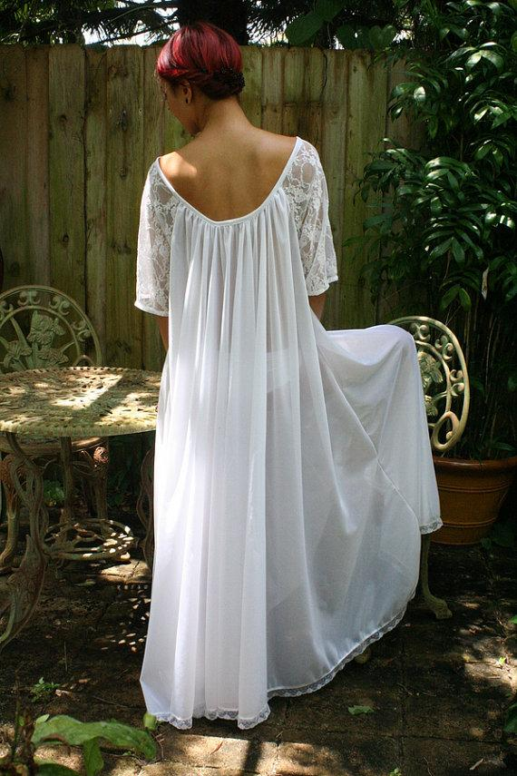 Свадьба - White Bridal Romance Full Swing Nightgown Lace Sleeves Bridal Lingerie Wedding Sleepwear Honeymoon Cruise Spa Holiday
