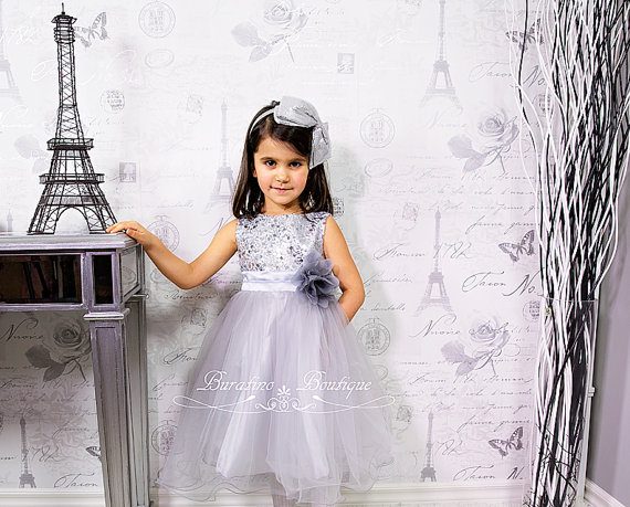 Свадьба - Flower Girl Dress Silver Sequin Dress, Special Occasion dress, Wedding Dress Size 2T- 14 (ets0155sv)