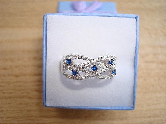 زفاف - Diamond Cut Blue And White Sapphires 925 Sterling Silver Engagement / Anniversary Ring Size 7
