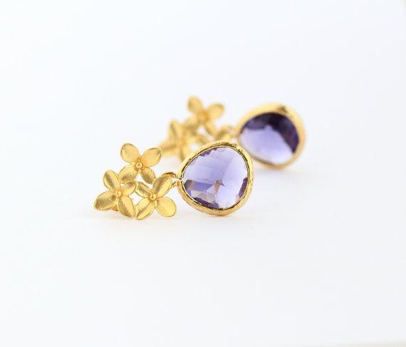 Mariage - Purple Glass Gold Hydrangea Earrings - Flower Post Earrings, Purple Earrings, Bridal Jewelry, Wedding Earrings, Spring Fashion