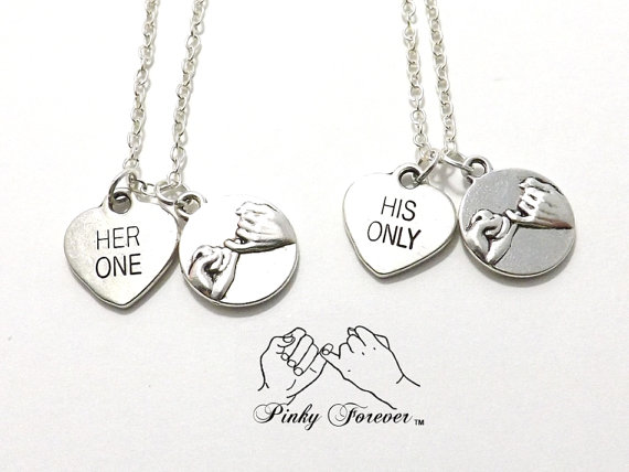 Wedding - 2 Her One His Only Pinky Promise Necklaces, Bride Groom Jewelry, Heart Couples Jewelry, Wedding Necklaces, His Hers Necklace,  Pinky Forever
