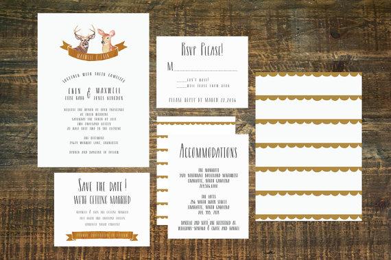 Свадьба - Woodland Deer Wedding Invitation