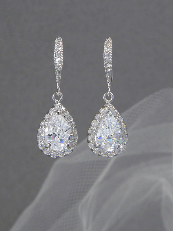 Crystal Bridal Earrings Wedding Jewelry Swarovski Ariel Drop