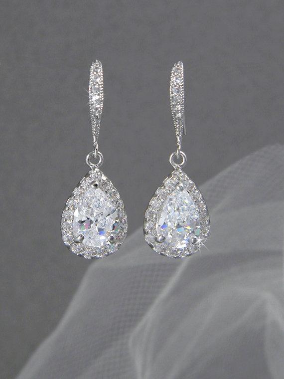 Mariage - Crystal Bridal earrings  Wedding jewelry Swarovski Crystal Wedding earrings Bridal jewelry, Ariel Drop Earrings