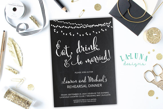 Wedding - Rehearsal Dinner Invitation, Wedding Rehearsal Dinner Invite, Eat, Drink and be Married, Vintage Lights, Chalkboard, DIY Printable,