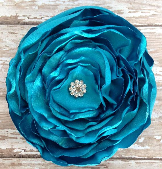 Свадьба - Satin Hair Flower, Turquoise Flower, Headband, Layered Hair Fascinator, Wedding, Bridesmaids, Little Girl, Hair Accessories, Boho Chic