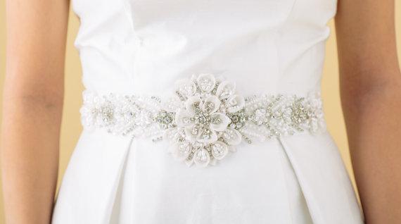 Свадьба - Final Sale, sample Sale, Pearl and Rhinestone Sash, Wedding Sash, Bridal Belt, Item 39, Ready to Ship