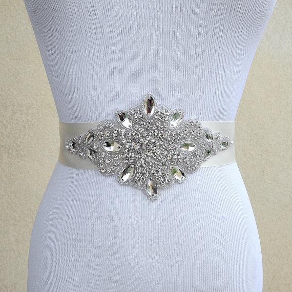 Свадьба - Bridal Sash Belt Wedding Dress Sash Belt Rhinestone Wedding Sash Belt Rhinestone Sash Belt Ivory Ribbon SA023LX