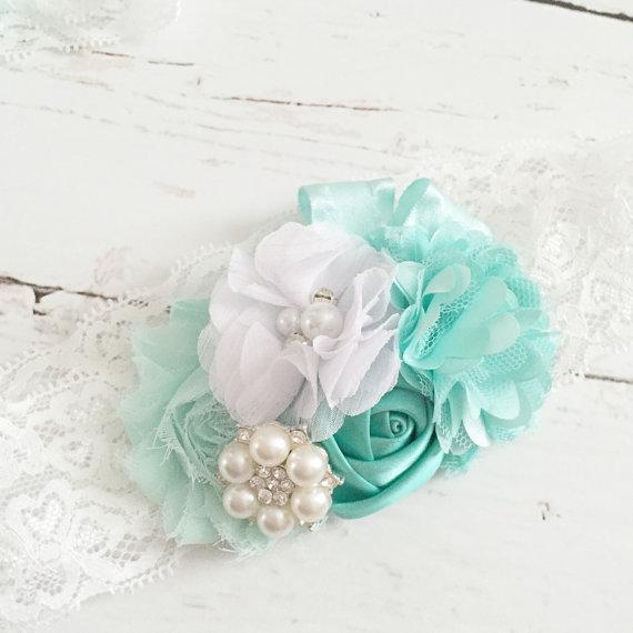 Mariage - aqua seafoam white pearl headband-tiffany and co inspired headband-wedding flower girl headband