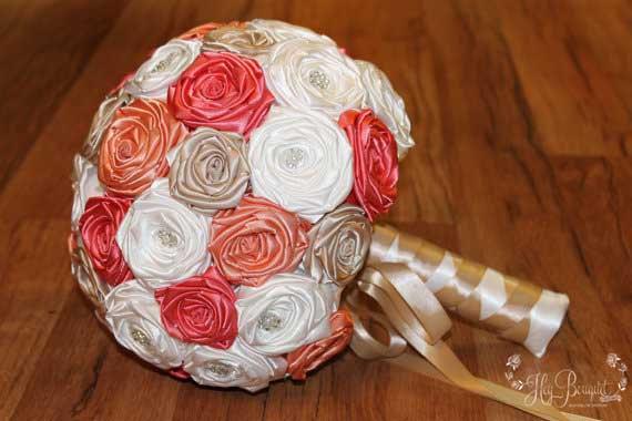 Mariage - Coral, Peach, Champagne, & White Large Fabric Bouquet, Destination Wedding, Beach Wedding, Tropical Theme, Peach Bouquet, Coral