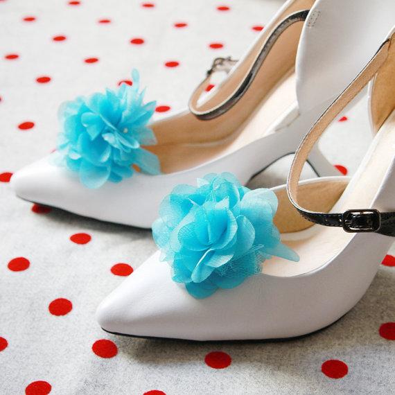 Mariage - Blue Chiffon Flower Shoe Clips - Wedding Shoes Bridal Couture Engagement Party Bride Bridesmaid
