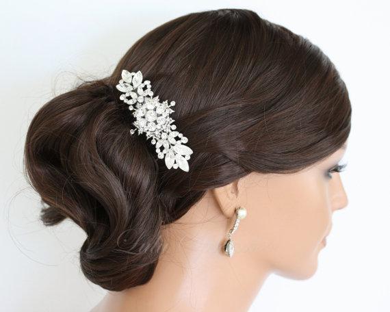 Mariage - Crystal Bridal Comb Wedding Hair Comb  Swarovski Rhinestone Head Piece Veil Comb Wedding Hair Accessories, CHANTILLY
