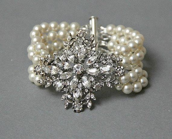 Mariage - Pearl Bridal Bracelet, Wedding Pearl Jewelry , Wedding Crystal Pearl Bracelet, Statement Bridal Cuff Bracelet, Gatsby Bridal Jewelry
