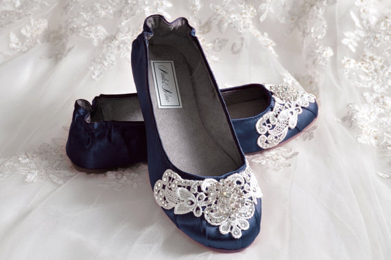 Navy Blue Wedding Shoes   Ballet Flats, 250 Colors, Vintage Lace, Swarovski  Crystals, Belle Womenu0027s Bridal Shoes