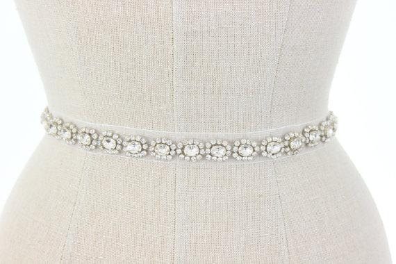 Mariage - Beaded Wedding Belt Bridal Sash,  Delicate Vintage Inspired Rhinestone Crystal Embellished Applique Organza Sash, Camilla Christine HARPER