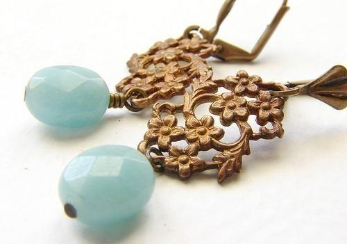 Mariage - Aqua mint drop earrings, bridesmaid jewelry, vintage inspired Bridal wedding jewelry, seafoam drop earrings Bridesmaid jewelry set
