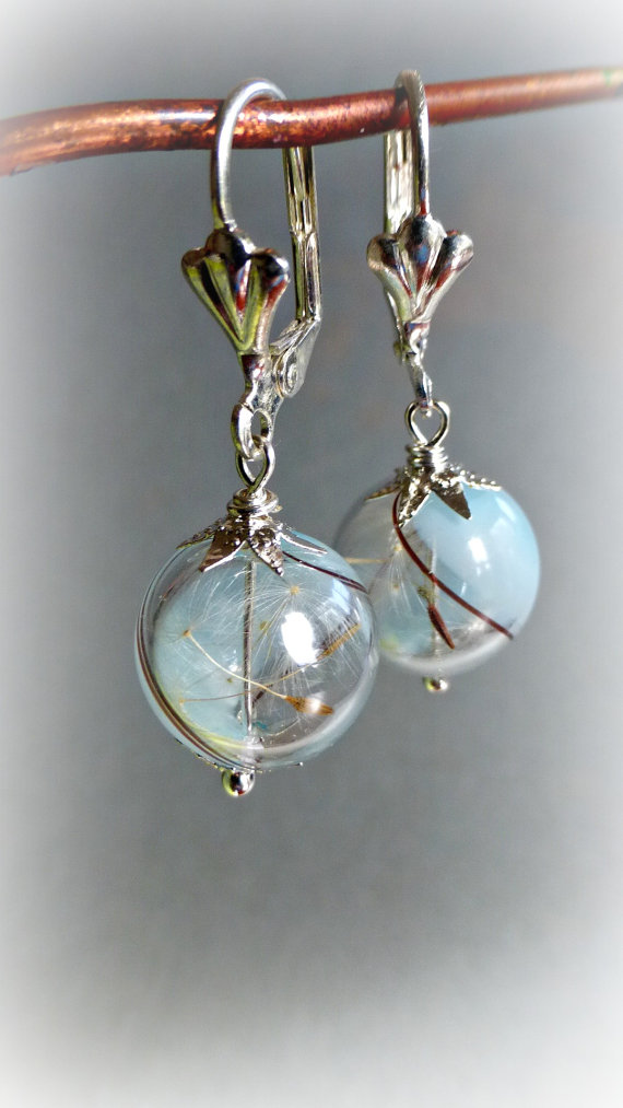 Mariage - Dandelion earrings Blue sky  glass orb Aqua Seeds jewelry Botanical Dry Real flowers Weddings Bridesmaids gift