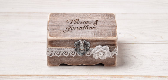Mariage - Wedding Ring Box Rustic Ring Bearer Box Custom Wood Wedding Ring Bearer Box Rustic Wooden Ring Box / item SNR-3