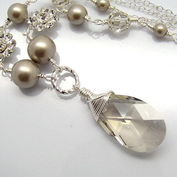 Mariage - Beige Bridal Necklace, Silver Shade Platinum Pearls Swarovski Elements Sterling Silver Filigree Rhinestones Flower Wedding Jewelry