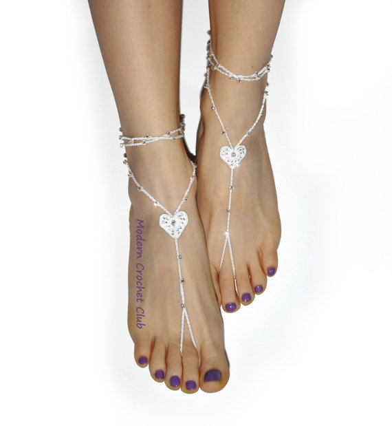 Mariage - PRECIOUS HEART Barefoot Sandals,Valentine's Day gift, nude shoes, beach wedding accessory, lace shoes, yoga, anklet, pool party