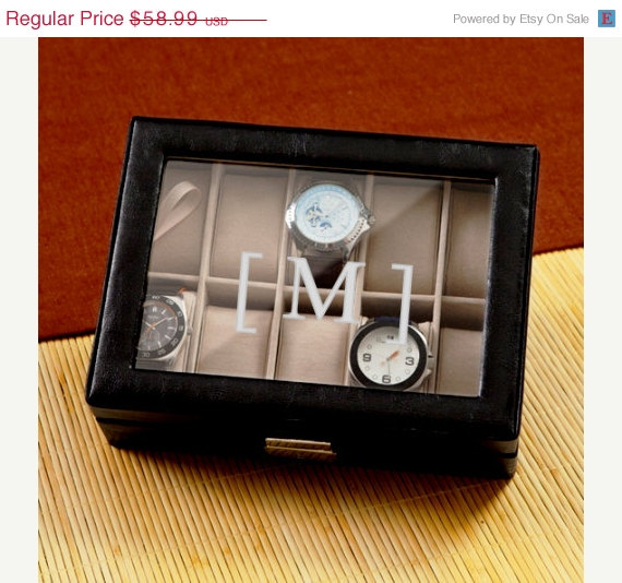 Mariage - Groomsmen Gifts - Personalized Men's Leather Watch Box (1082)