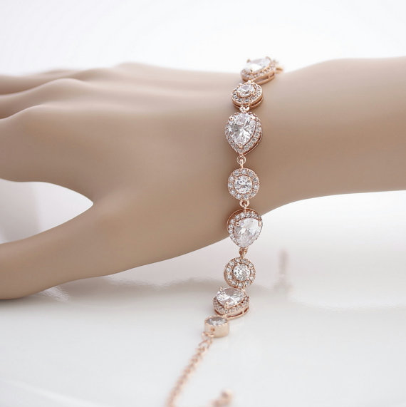 Mariage - Rose Gold Bridal Bracelet Wedding Jewelry Wedding Bracelet Cubic Zirconia Bracelet Pink Gold Bracelet