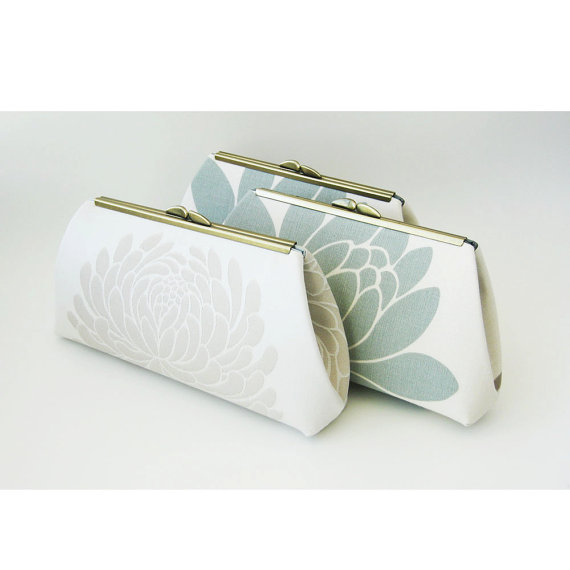 Mariage - Custom Wedding Clutches - Bride Bridesmaid Wedding Purses - Set of 3 - Personalized with FREE Custom Silk Labels included