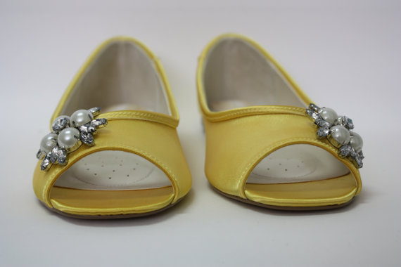 Mariage - Yellow Wedding Shoes - Flat Bridal Shoe - Choose From Over 100 Colors - Custom Wedding Flats - Comfortable Wedding Shoe - Pearl And Crystals