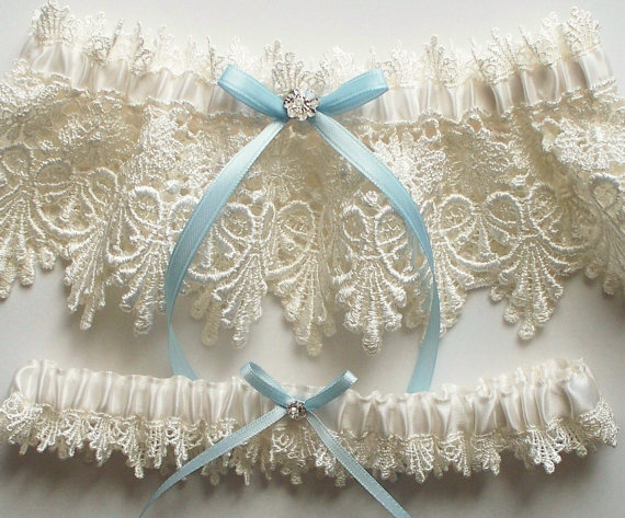 Mariage - Wedding Garter Set with Blue Satin Ribbon Bow and Swarovski Crystal Centering   - The ALICIA Garter Set