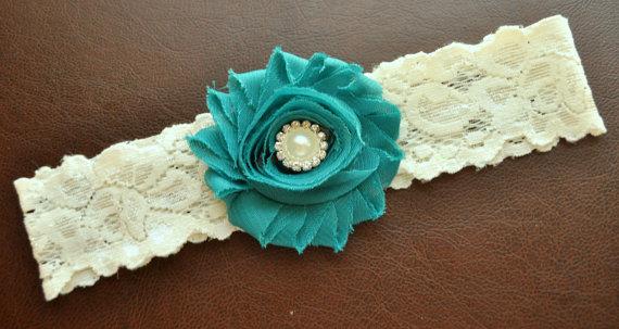 Mariage - Wedding Garter, Bridal Garter, Jade Wedding Garter, Jade Bridal Garter, Ivory Lace Garter, Ivory Wedding Garter Belt, Jade Garter