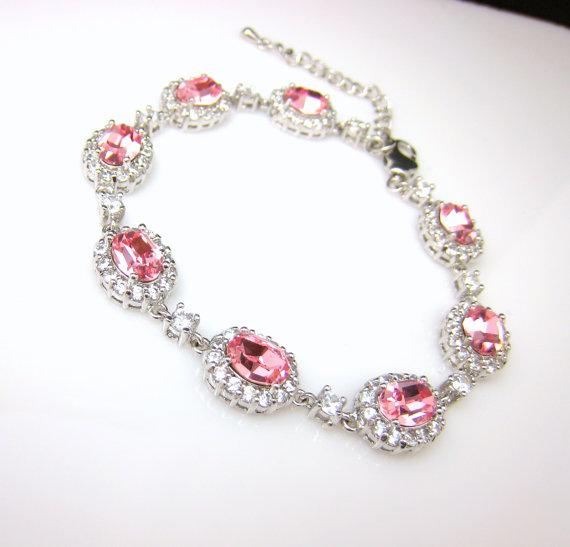 Mariage - bridesmaid jewelry bracelet bridal wedding pale pink christmas party gift swarovski oval light rose rhinestone cubic zirconia bracelet