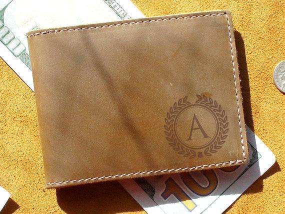 Mariage - Monogrammed Genuine Leather Wallet - Personlized, Gifts, Groomsmen, Weddings