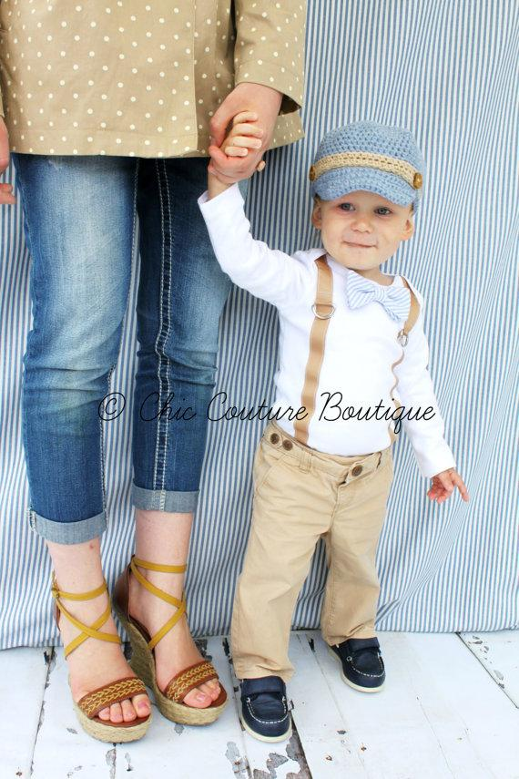 Mariage - Baby Boy Easter Spring Bow Tie & Suspender Bodysuit. Baby Blue Seersucker, Wedding, 1st First Birthday Outfit,Tan Suspenders Ring Bearer Tie