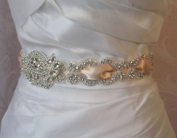Mariage - Delicate Rhinestone Sash, Champagne  Crystal Bridal Sash, Wedding Belt, White, Ivory, Diamond White, Black and Custom Colors - CALLA
