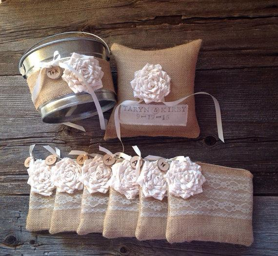 Mariage - Personalized Burlap and Lace Clutches, Flower Girl Pail, Ring Bearer  Pillow, Wedding Set, You Choose the Color Flower and Interior Fabric