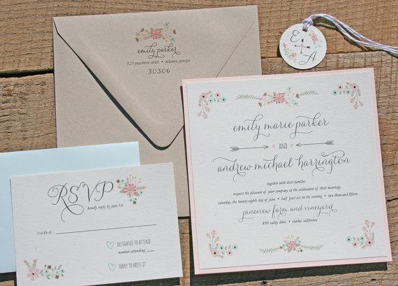 زفاف - Mint and Blush Wedding Invitation Set Sample