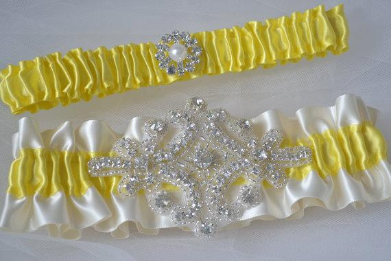 Mariage - Wedding Garter Canary Yellow Garters And Ivory Satin With Rhinestone Embellishments Garter Belts Bridal Garter Set Yellow Garters