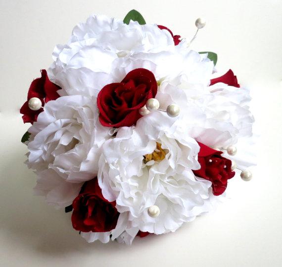 White Wedding Bouquets Online : Silk bridal bouquet faux artificial