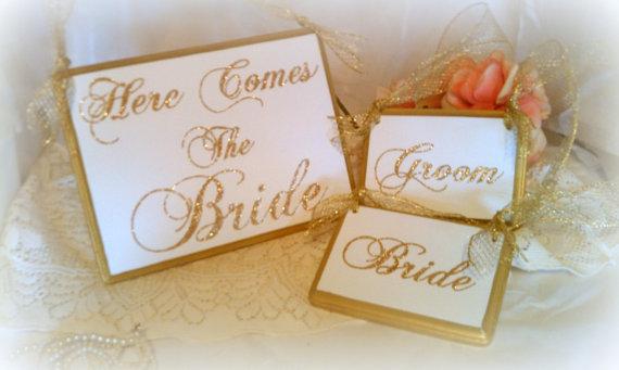 Свадьба - Wedding Signs Glittered FAIRYTALE Wedding PHOTO PROPS Gold Wedding  (Set of 3 Signs)