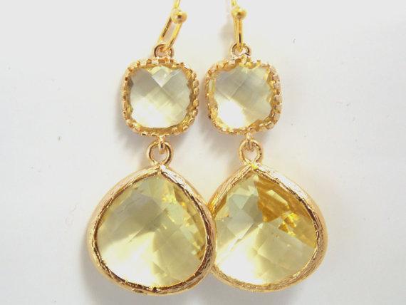 Свадьба - Yellow Earrings, Glass Earrings, Lemon, Citrine, Jonquil, Gold, Dangle, Drop, Bridesmaid Earrings, Bridal Earrings Jewelry, Bridesmaid Gift