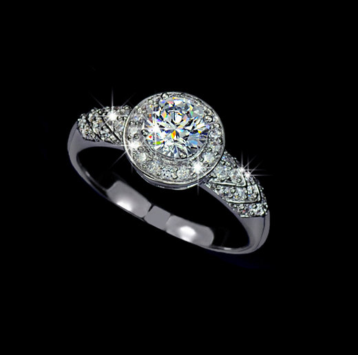Свадьба - Round Halo Ring 0.75 Carat Round Cubic Zirconia Micro Pave Engagement Ring Wedding Ring Accent Ring, AR0020