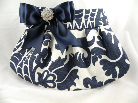 Mariage - Pleated Clutch  Evening Bag  Purse  Wedding  Bridesmaid  AMSTERDAM  Navy and White with Navy Satin Bow and Crystal