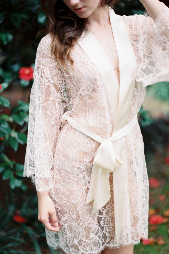 Свадьба - Fleur Le Resort Tulip French Lace & Silk Bridal Kimono Robe in Blush Pink or Ivory