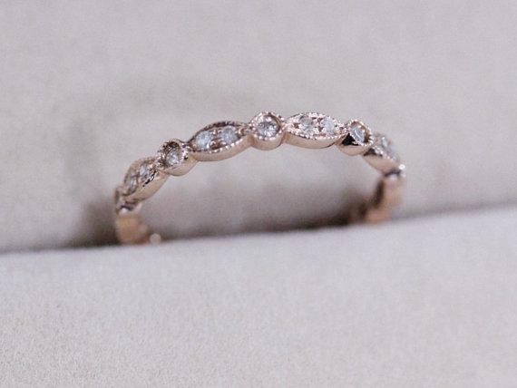 Свадьба - Natural Diamond Ring 2.38mm Wedding Band 14K Rose Gold Ring Diamond Band Engagement Ring Full Eternity Matching Band